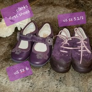 2 pairs Clarks bay girl shoes US size 5 1/2 and 6